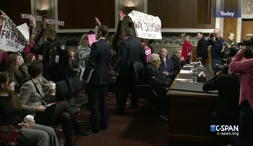 Kissinger at McCain Hearing, Code Pink