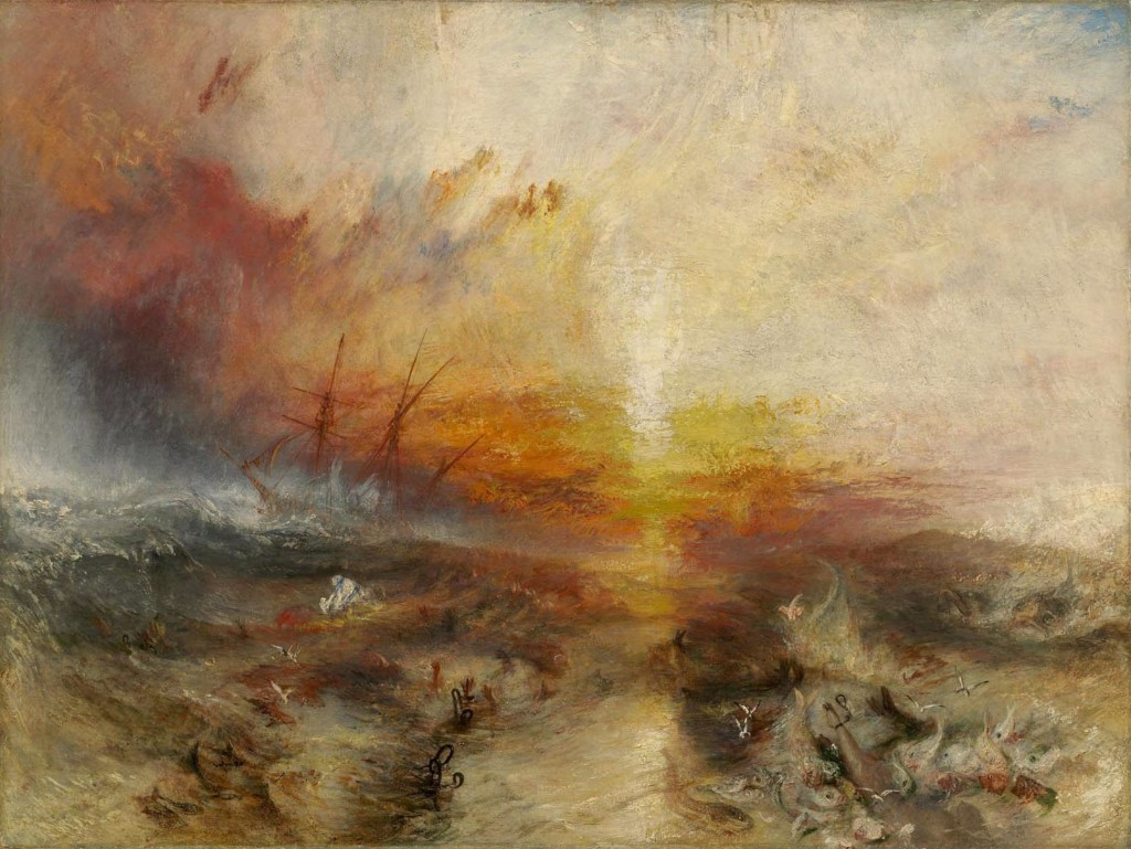 Turner painting inspired by the mass killing of slaves being thrown from the ship Zong.