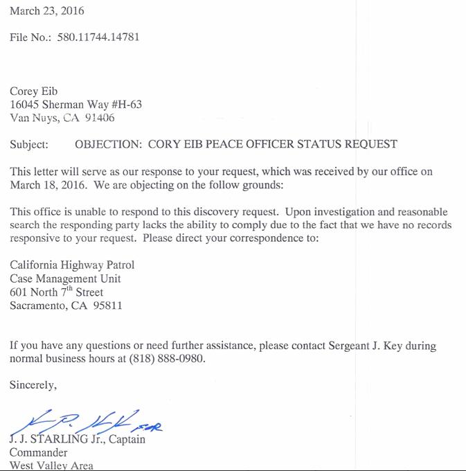 CHP.Objection_Corey_Eib_Peace_Officer_Status_Mar23.2016